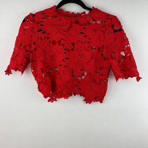 A'gaci Red Lace Short Sleeve Crop Top